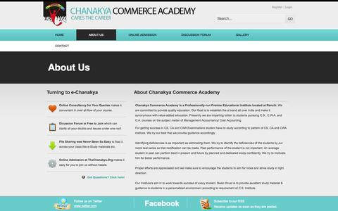 Screenshot of About Page thechanakya.org - Chanakya Commerce Academy | A Joint venture of Lawanya Academia - captured Oct. 2, 2014