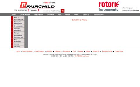 Screenshot of Pricing Page fairchildproducts.com - Pricing Information - captured Oct. 24, 2018