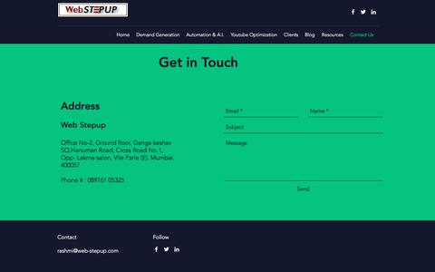 Screenshot of Contact Page web-stepup.com - Best Marketing Automation Services India |Automation Solutions Mumbai - captured Sept. 20, 2018