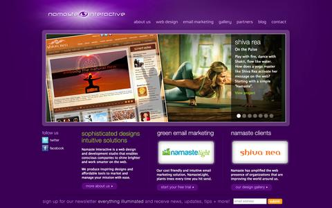 Screenshot of Home Page namasteinteractive.com - Namaste Interactive | Conscious Website Design for Yoga Studios, Yoga Teachers, Retreat Centers, Natural Products, Festivals, Media Companies - captured Sept. 22, 2014