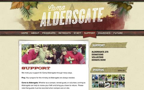 Screenshot of Support Page campaldersgate.com - Support | Camp Aldersgate - captured Sept. 26, 2014
