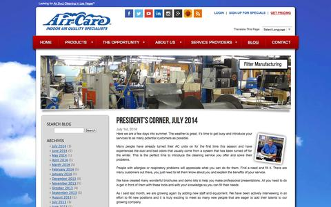Screenshot of Blog air-care.com - Air Duct Cleaning Equipment, Supplies and Training Blog | Air-Care - captured Sept. 30, 2014