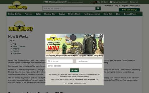 Screenshot of FAQ Page Terms Page wingsupply.com - Wing Supply - How It Works | Wing Supply - captured July 4, 2018
