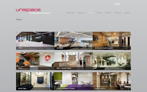 Screenshot of Case Studies Page unispace.com - Projects | Unispace Interior Design - captured Feb. 13, 2016