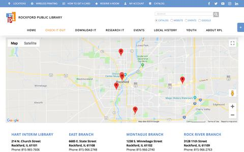 Screenshot of Locations Page rockfordpubliclibrary.org - Locations - Rockford Public Library - captured Sept. 21, 2018