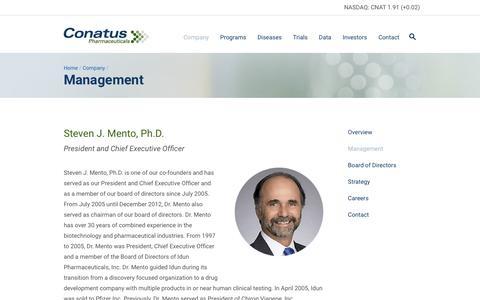 Screenshot of Team Page conatuspharma.com - Conatus Pharmaceuticals                  Âť Management - captured Feb. 21, 2016