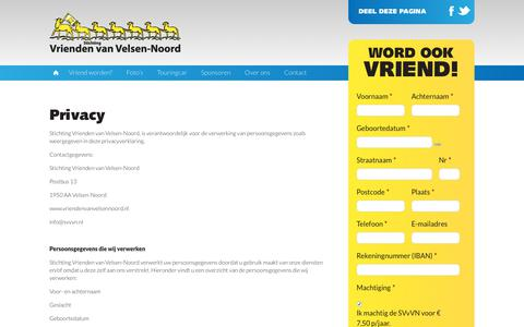Screenshot of Privacy Page vriendenvanvelsennoord.nl - Privacy - Vrienden van Velsen-Noord - captured Oct. 18, 2018