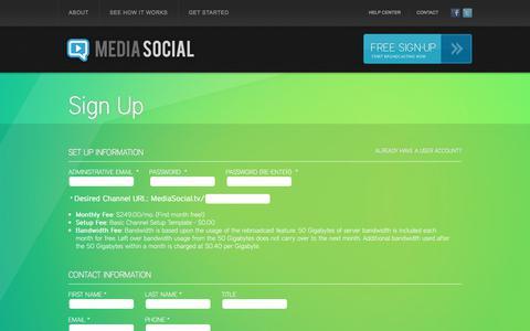 Screenshot of Signup Page mediasocial.tv - Media Social - Signup - captured June 10, 2017