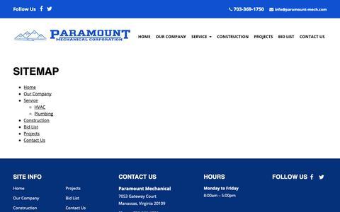 Screenshot of Site Map Page paramount-mech.com - Commercial Mechanical Contractor   Manassas, VA - captured Sept. 26, 2018