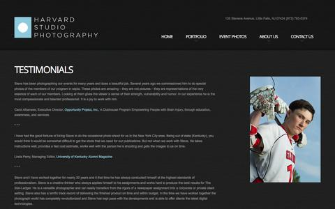 Screenshot of Testimonials Page harvardstudio.com - NJ Photographer Steve Hockstein: Harvard Studio Photography, Little Falls, NJ, Testimonials - captured Jan. 26, 2016
