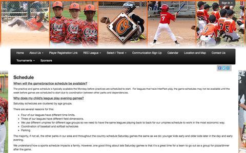 Screenshot of FAQ Page oceepark.com - Ocee Park Athletic Association - captured April 28, 2017