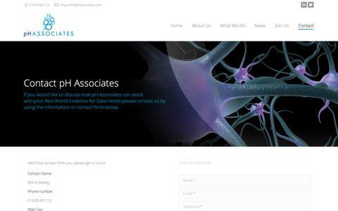 Screenshot of Contact Page phassociates.com - pH Associates | Contact pH Associates - pH Associates - captured Sept. 30, 2018