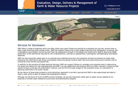 Screenshot of Developers Page gwp.uk.com - Services for Developers | GWP Consultants - captured Oct. 20, 2016