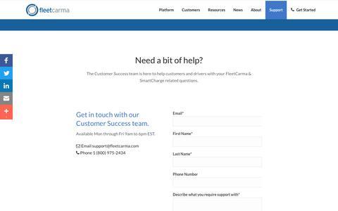 Screenshot of Support Page fleetcarma.com - Customer Support | FleetCarma - captured Aug. 30, 2017