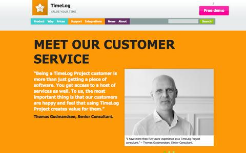 Screenshot of Support Page timelog.com - The best customer service in the business | Contact TimeLog - captured Sept. 19, 2014