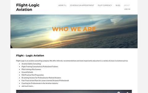 Screenshot of About Page flight-logic.com - About Flight-Logic - Flight-Logic Aviation - captured Oct. 10, 2018