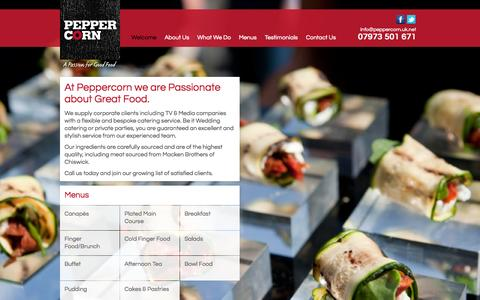 Screenshot of Home Page peppercorn.uk.net - Peppercorn – Exquisite catering in West London - captured Sept. 29, 2014