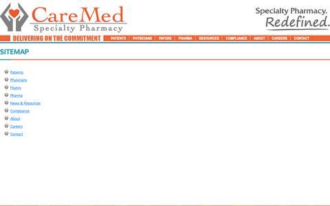 Screenshot of Site Map Page caremedps.com - CareMed Specialty Pharmacy - captured Sept. 27, 2018