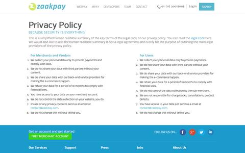 Screenshot of Privacy Page zaakpay.com - Privacy policies by Zaakpay - captured Oct. 27, 2014