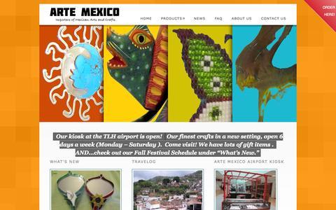 Screenshot of Home Page artemexicoflorida.com - Arte Mexico of Florida - captured Oct. 4, 2014