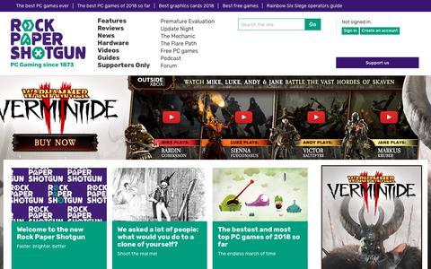 Screenshot of Home Page rockpapershotgun.com - Rock Paper Shotgun - PC Game Reviews, Previews, Subjectivity - captured July 21, 2018