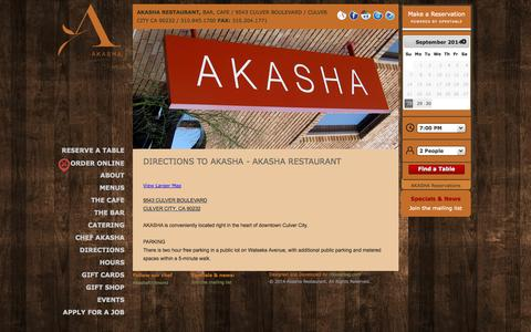 Screenshot of Maps & Directions Page akasharestaurant.com - Directions – Downtown Culver City, CA | Akasha Restaurant - captured Sept. 30, 2014