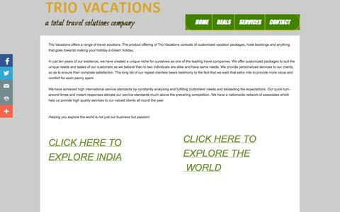 Screenshot of Services Page triovacations.com - Services - captured Oct. 8, 2014