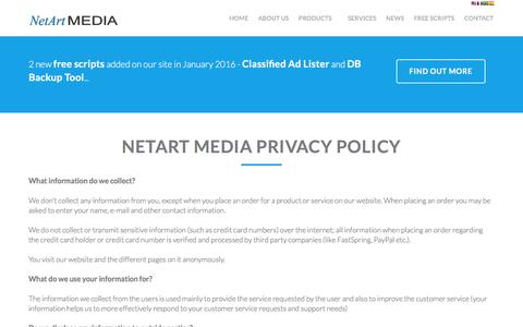 Screenshot of Privacy Page netartmedia.net - Privacy Policy - captured Jan. 14, 2016