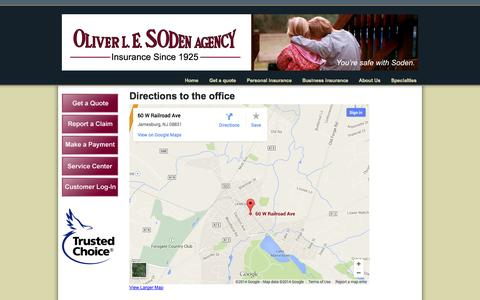 Screenshot of Maps & Directions Page sodeninsurance.com - Directions to the office   Soden Insurance - captured Oct. 6, 2014