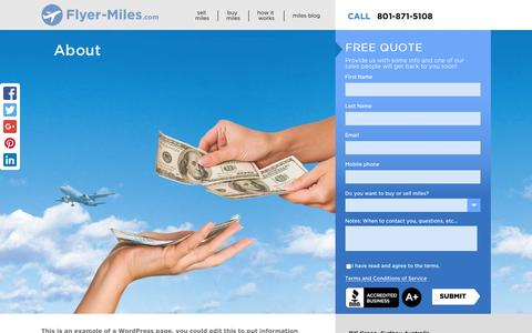 Screenshot of About Page flyer-miles.com - About - Flyer-Miles.com - captured Jan. 8, 2016