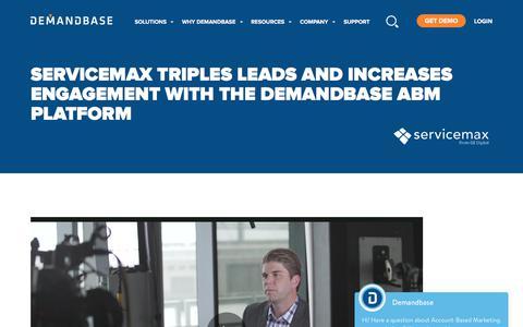 Screenshot of Case Studies Page demandbase.com - Artificial Intelligence Brings in 3X More Leads for ServiceMax | Account-Based Marketing – Demandbase - captured Nov. 6, 2019