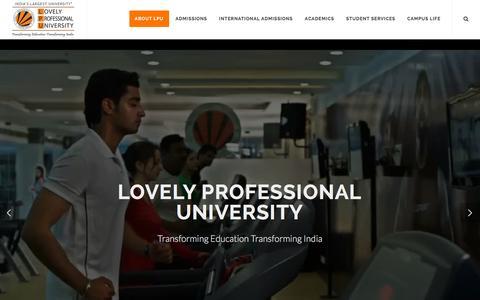 Screenshot of Home Page lpu.in - LPU- India's Largest Best Private University (Jalandhar, Punjab) - captured Oct. 14, 2015