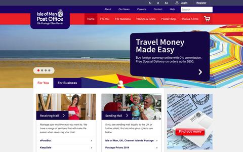 Screenshot of Home Page iompost.com - Isle of Man Post Office - captured Oct. 6, 2014