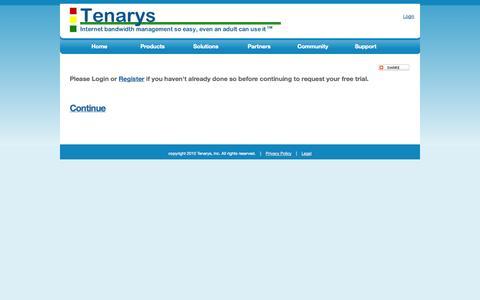 Screenshot of Trial Page tenarys.com - Tenarys - Free Trial - captured Oct. 26, 2014