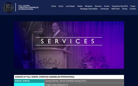 Screenshot of Services Page fgcai.org - Services – Full Gospel Christian Assemblies International - captured Nov. 26, 2016