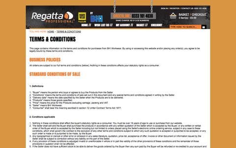 Screenshot of Terms Page regattaworkwear.com - Terms & Conditions - captured Oct. 26, 2014