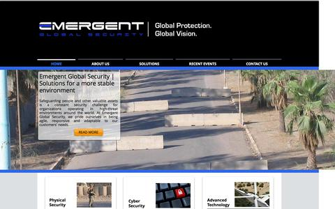 Screenshot of Home Page emergentglobalsecurity.com - Emergent Global Security | Global Protection. Global Vision. - captured Dec. 9, 2015