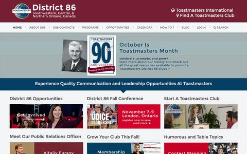 Screenshot of Home Page toastmasters86.org - Home - toastmasters86 - captured Oct. 6, 2014