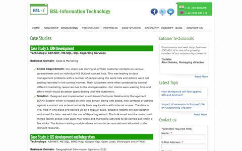 Screenshot of Case Studies Page bsl-i.com - Case Studies - captured Oct. 4, 2014