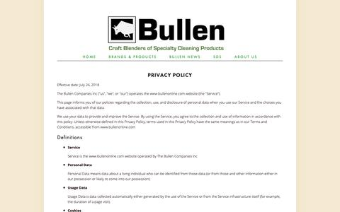 Screenshot of Privacy Page bullenonline.com - Privacy Policy — Bullen - captured Oct. 18, 2018