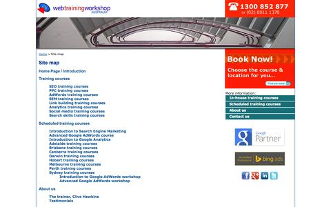 Screenshot of Site Map Page webtrainingworkshop.com.au - Site map for the Web Training Workshop website: SEO & PPC training in Sydney & Australia - captured Sept. 30, 2014