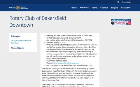 Screenshot of About Page clubrunner.ca - Rotary Club of Bakersfield Downtown | Rotary Club of Bakersfield - captured Jan. 27, 2018