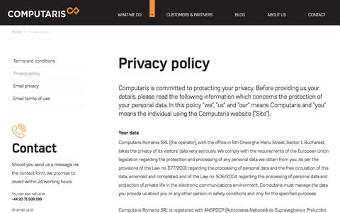 Screenshot of Privacy Page computaris.com - Privacy policy | Computaris - captured July 21, 2018