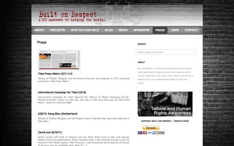 Screenshot of Press Page builtonrespect.com - Built On Respect  » Press - captured Sept. 30, 2014