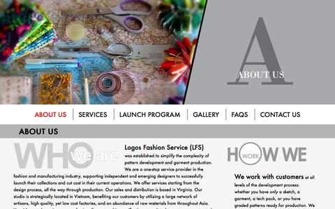 Screenshot of About Page logosfashionservice.com - About us - Best Low Volume Apparel Manufacturer In Vietnam For Start-Up Fashion Designers | Logos Fashion Service - captured Sept. 30, 2014