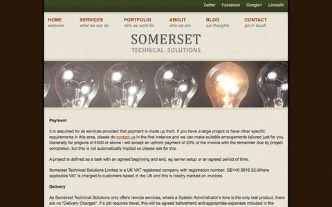 Screenshot of Terms Page somersettechsolutions.co.uk - Terms & Conditions - Somerset Technical Solutions - captured Dec. 1, 2016