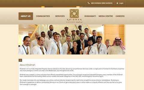 Screenshot of About Page khidmah.com - About - captured Sept. 30, 2014
