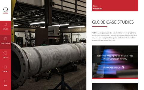 Screenshot of Case Studies Page globefab.com - Case Studies - Globe Mechanical - captured Nov. 1, 2018