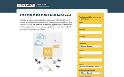 Screenshot of Trial Page menandmice.com - Free Trial - captured May 15, 2018
