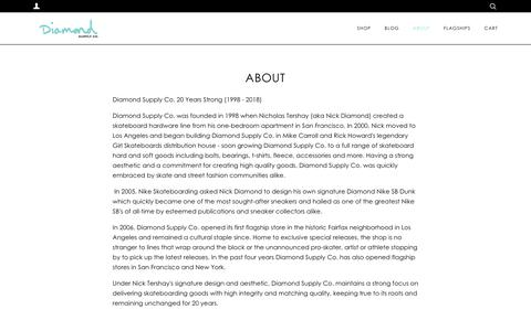 Screenshot of About Page diamondsupplyco.com - ABOUT – Diamond Supply Co. - captured Nov. 17, 2018